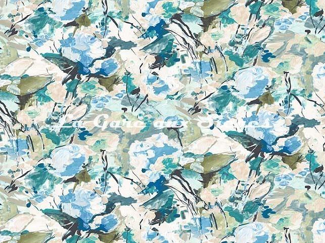 Tissu Casal - Emily - réf: 30410.9014 Opaline/Bleu - Voir en grand
