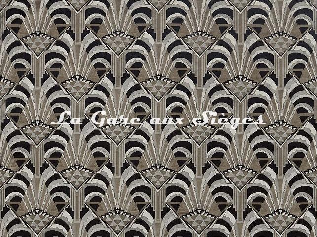 Tissu Zoffany - Conway - réf: 332961 Platinum/Noir - Voir en grand