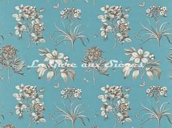 Tissu Sanderson - Etching & Rose - réf: DPFPET203 Pale Cobalt Metallic - Voir en grand