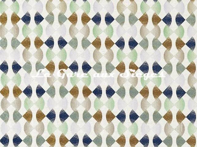 Tissu Harlequin - Maolica - réf: 132881 Ink/Wasabi/Gold - Voir en grand