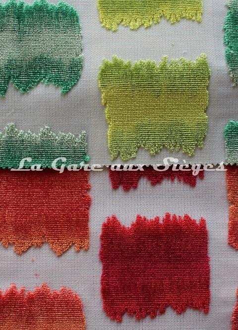 Tissu Jéro - Aquarelle - réf: 9631 - Coloris: 02 Vert & 04 Orange - Voir en grand