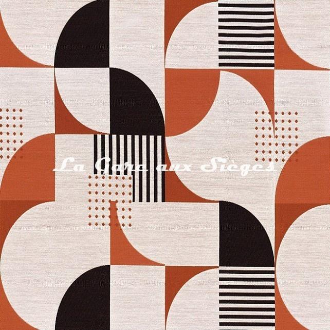 Tissu Casamance - Nelson - réf: 4715.0337 Orange brulée - Voir en grand