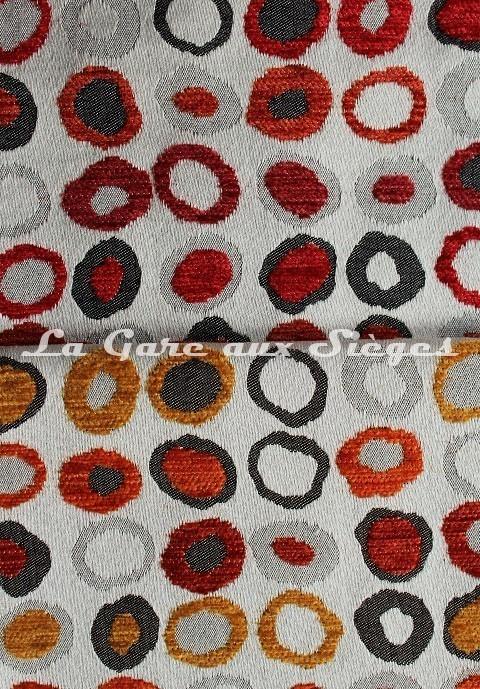 Tissu Casal - Oméga - réf: 16181 - Coloris: 4225 Orangé Cuivre & 7585 Rubis Bordeaux - Voir en grand