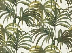 Tissu House of Hackney - Palmeral Coton/Lin - Coloris: Off-White/Green - Voir en grand