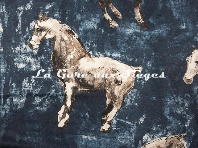 Tissu Donghia - Horses - réf: 10357.002 Blue ( détail )  - Voir en grand