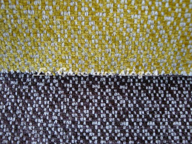 Tissu Jéro - Arty - réf: 9270 - Coloris: 05 Soufre & 07 Chataigne - Voir en grand