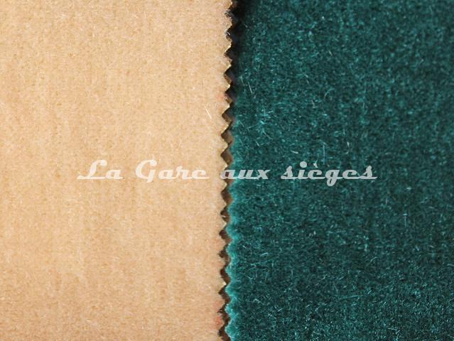 Tissu Chanée Ducrocq - Marmara 100 - Coloris: 31169 Dune & 31220 Bleu paon - Voir en grand