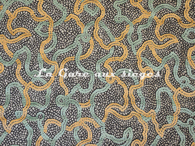Tissu Casal - Pompeï - réf: 12721.7430 Dune/Vert d'eau - Voir en grand