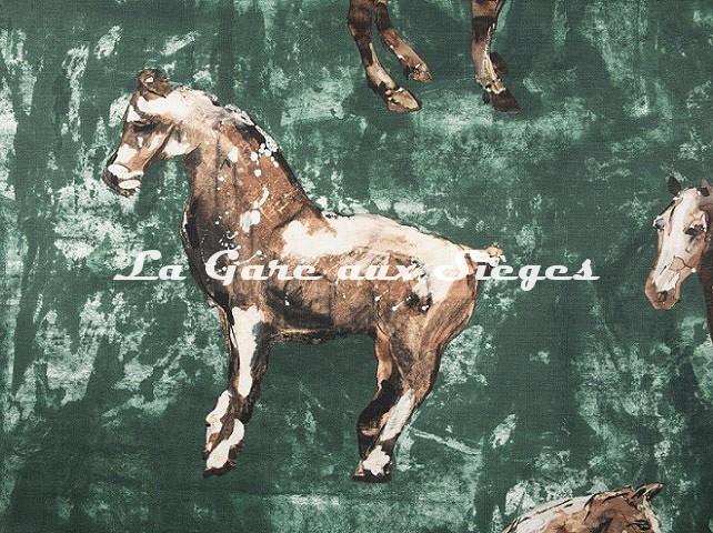 Tissu Donghia - Horses - réf: 10357.002 Green ( détail ) - Voir en grand
