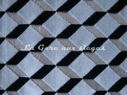 Tissu Casamance - Velours Delacroix - réf: 771.0354 Blanc/Noir - Voir en grand