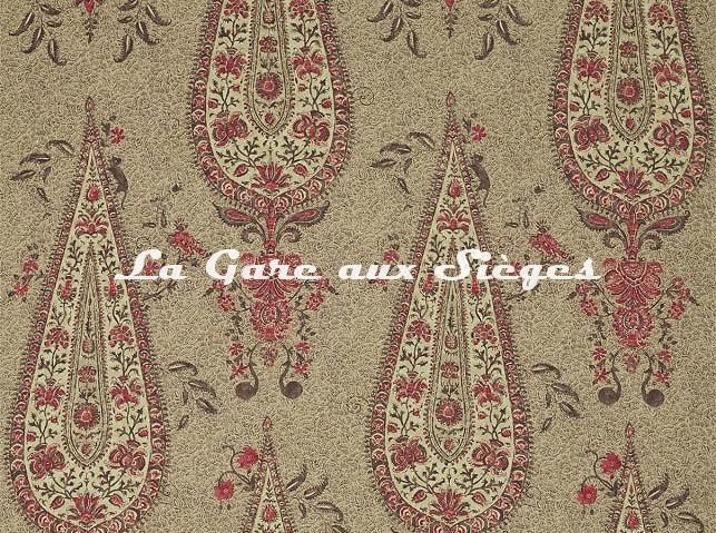 Tissu Zoffany - Koyari Paisley - réf: 322705 Antiquary/Crimson/Linen - Voir en grand