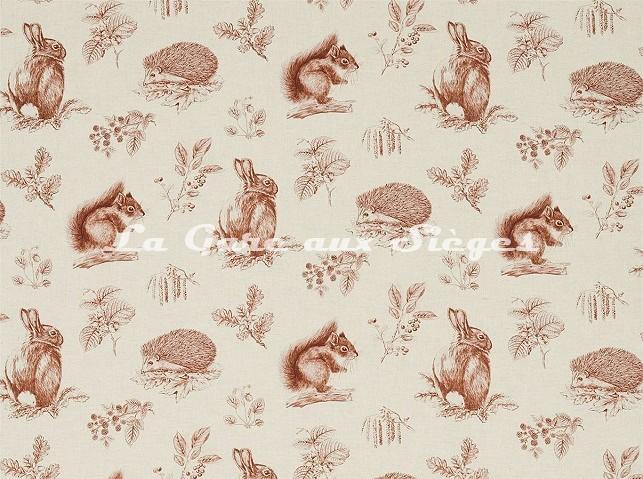 Tissu Sanderson - Squirrel & Hedgehog - réf: 225524 Henna/Wheat - Voir en grand
