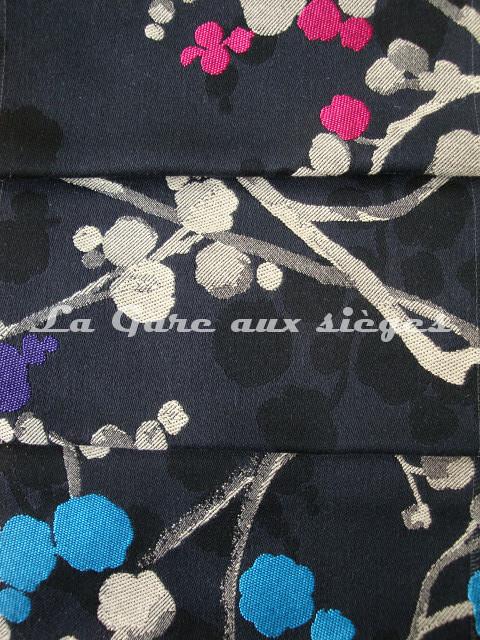 Tissu Bélinac - Nora - réf: 1355 - Coloris: Fuschia (09), Violet (07) et Turquoise (08), fond noir - Voir en grand