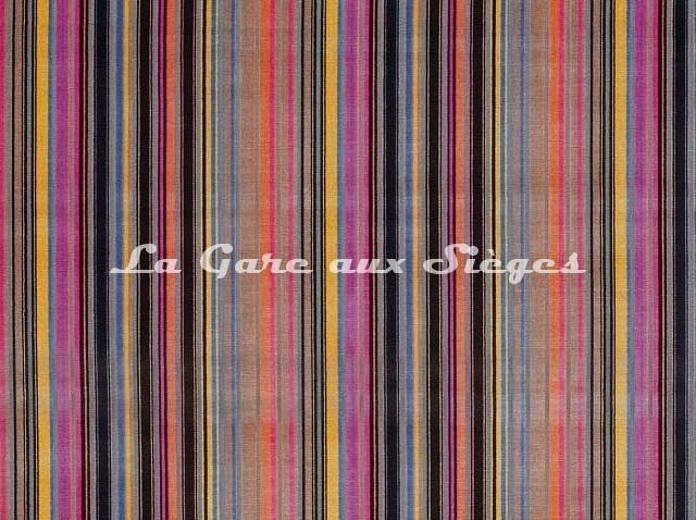 Tissu Osborne & Little - Gondolier - réf: F7040-01 Pink/Black/Fawn/Melon - Voir en grand
