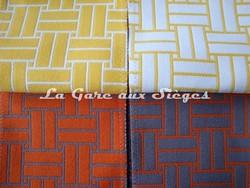 Tissu Lelièvre - Reverso - réf: 717 - Coloris: 05 Mimosa & 06 Mandarine - Voir en grand