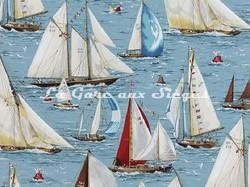 Tissu Pierre Frey - Régates - réf: F2360-001 Bleu - Voir en grand