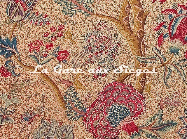 Tissu Braquenié - Le Grand Corail - réf: B080A.002 Rouge/Fond Bis - Voir en grand
