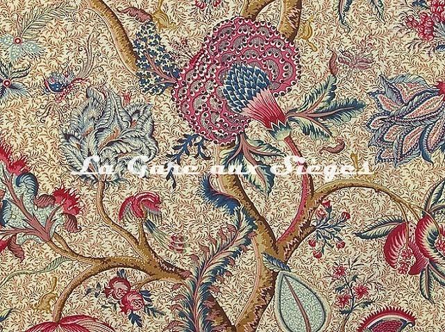 Tissu Braquenié - Le Grand Corail - réf: B080A.001 Rouge/Fond Crème - Voir en grand