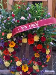 couronne de deuil traditionnelle pour obsèques  - Voir en grand