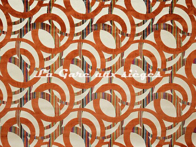 Tissu Casal - Chenonceau - réf: 12704.45 Orangé - Voir en grand