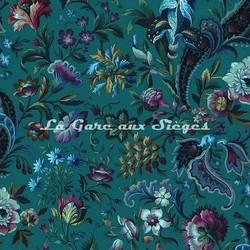 Tissu House of Hackney - Florika velvet - Coloris: Pétrol - Voir en grand