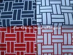 Tissu Lelièvre - Reverso - réf: 717 - Coloris: 03 Ardoise & 04 Rouge - Voir en grand
