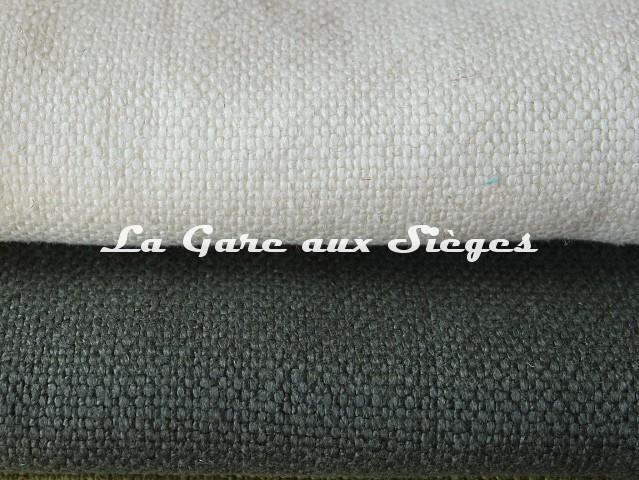 Tissu Dominique Kieffer - Gros Lin - réf: 17208 - Coloris: 01 Ivory & 02 Lichen - Voir en grand