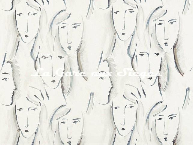 Tissu Zoffany - Les Dames - réf: 322676 Charcoal - Voir en grand