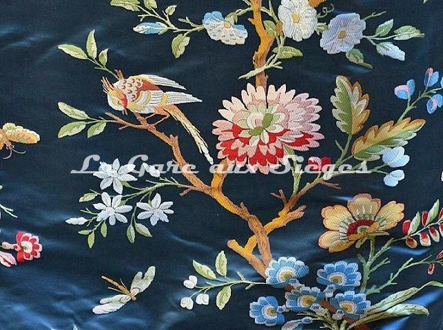 Tissu Tassinari & Châtel - Lampas Jardin d'hiver - réf: 1696-01 Saphir - Voir en grand