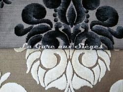 Tissu Casal - Velours Galliéra - réf: 12655 - Coloris: 0 Ebène & 72 Beige - Voir en grand