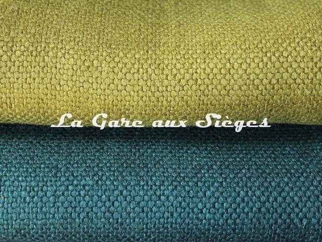 Tissu Dominique Kieffer - Gros Lin - réf: 17208 - Coloris: 03 Chartreuse & 04 Cobalt - Voir en grand