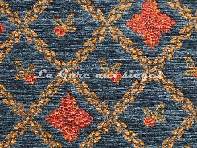 Tissu Amélie Prévot - Rohan - réf: 16076 - Coloris: 14 Bleu - Voir en grand