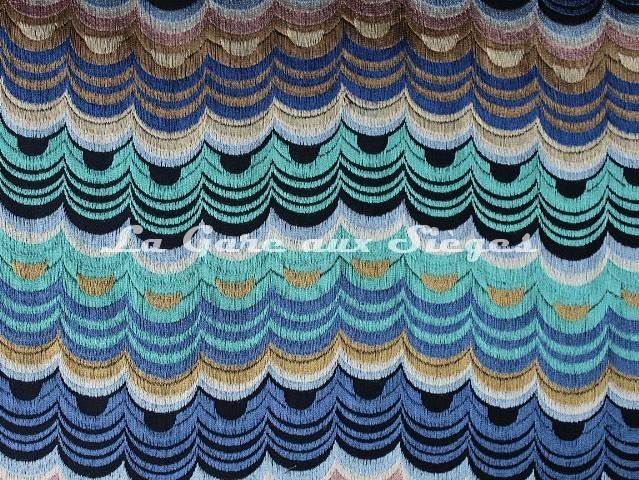 Tissu Osborne & Little - Carnival - réf: F7052-03 Indigo/Azure/Turquoise/Linen - Voir en grand