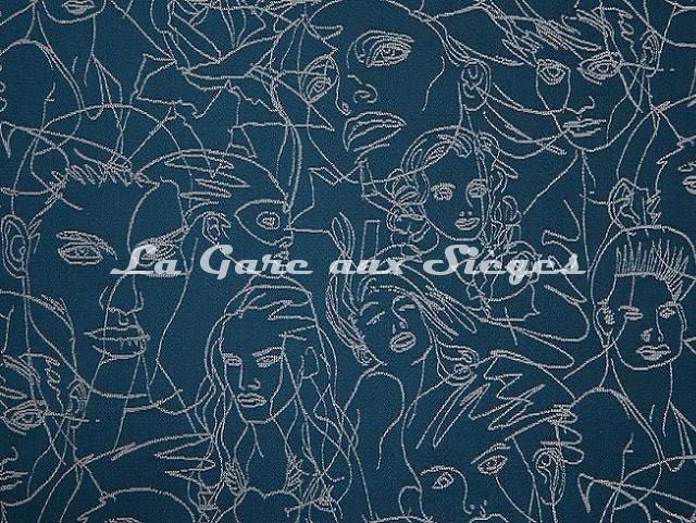 Tissu Jean Paul Gaultier - Regard - réf: 3471-05 Bleu - Voir en grand