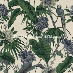 Tissu House of Hackney - Paradisia coton/lin - Coloris: Off White - Voir en grand