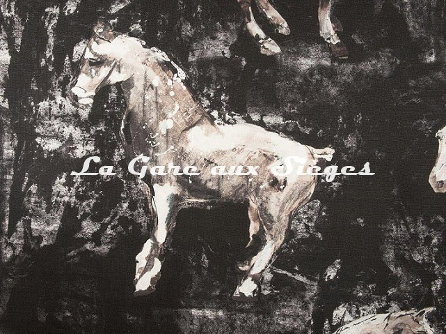 Tissu Donghia - Horses - réf: 10357.009 Black ( détail ) - Voir en grand