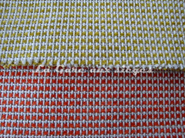 Tissu Jéro - Carfty - réf: 9269 - Coloris: 06 Soufre & 07 Sanguine - Voir en grand