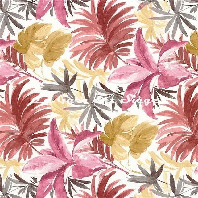 Tissu Camengo - Palma - réf: 4071.0149 Rose - Voir en grand