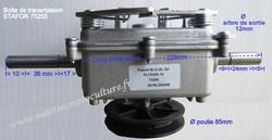 Dimensions boite de transmission 75255 tondeuse débroussailleuse STAFOR www.martin-motocultuture.fr - Voir en grand