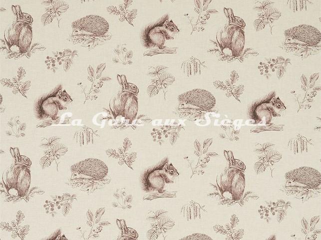 Tissu Sanderson - Squirrel & Hedgehog - réf: 225523 Walnut/Linen - Voir en grand