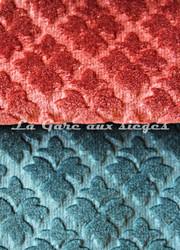 Tissu Chanée Ducrocq - Velours gaufré Rivoli - Coloris: 932 Corail - 936 Saphir - Voir en grand