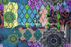 Tissu Casal - Woodstock - réf: 35001-14 Multi bleu - Voir en grand