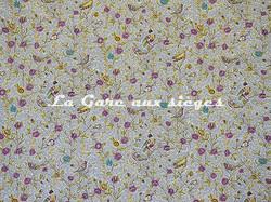 Tissu Casal - Fleurs et Oiseaux - réf: 30411.1596 Indigo/Prune - Voir en grand