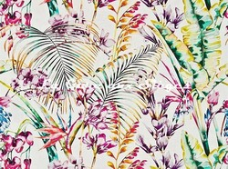 Tissu Harlequin - Paradise - réf: 120351 Papaya/Flamingo/Apple - Voir en grand