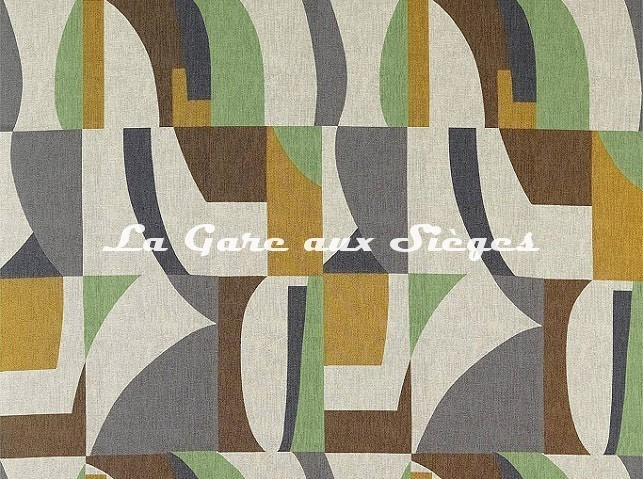 Tissu Harlequin - Bodega - réf: 132870 Saffron/Charcoal/Wasabi - Voir en grand