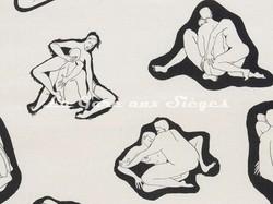 Tissu Pierre Frey - Les Amants - réf: F2985-001 Noir & Blanc - Voir en grand