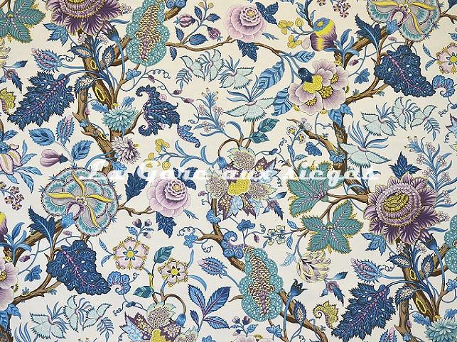 Tissu Casal - Madurai - réf: 30412.7214 Bleu/Parme - Voir en grand
