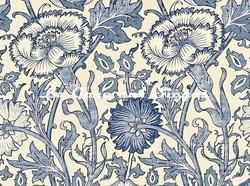 Tissu William Morris - Pink & Rose - réf: 222531 Vellum/Indigo ( détail ) - Voir en grand
