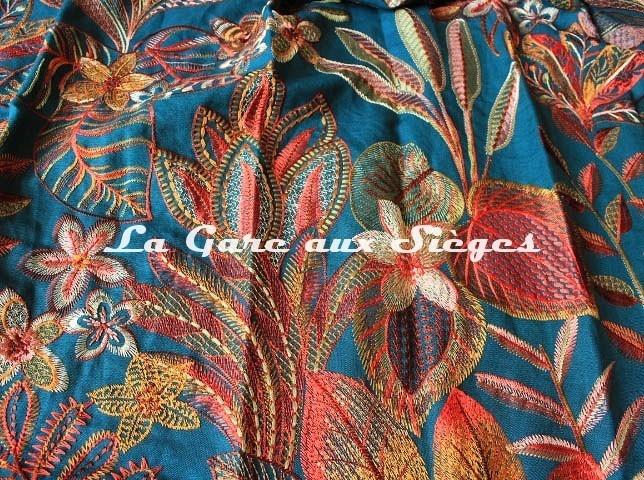 Tissu Casamance - Tereshchenko - réf: 4375.0145 Bleu topaze/Multico - Voir en grand