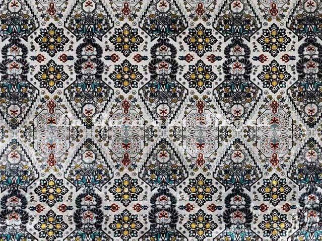 Tissu Osborne & Little - Iolanthe - réf: F7042-03 Silver/Turquoise/Yellow - Voir en grand